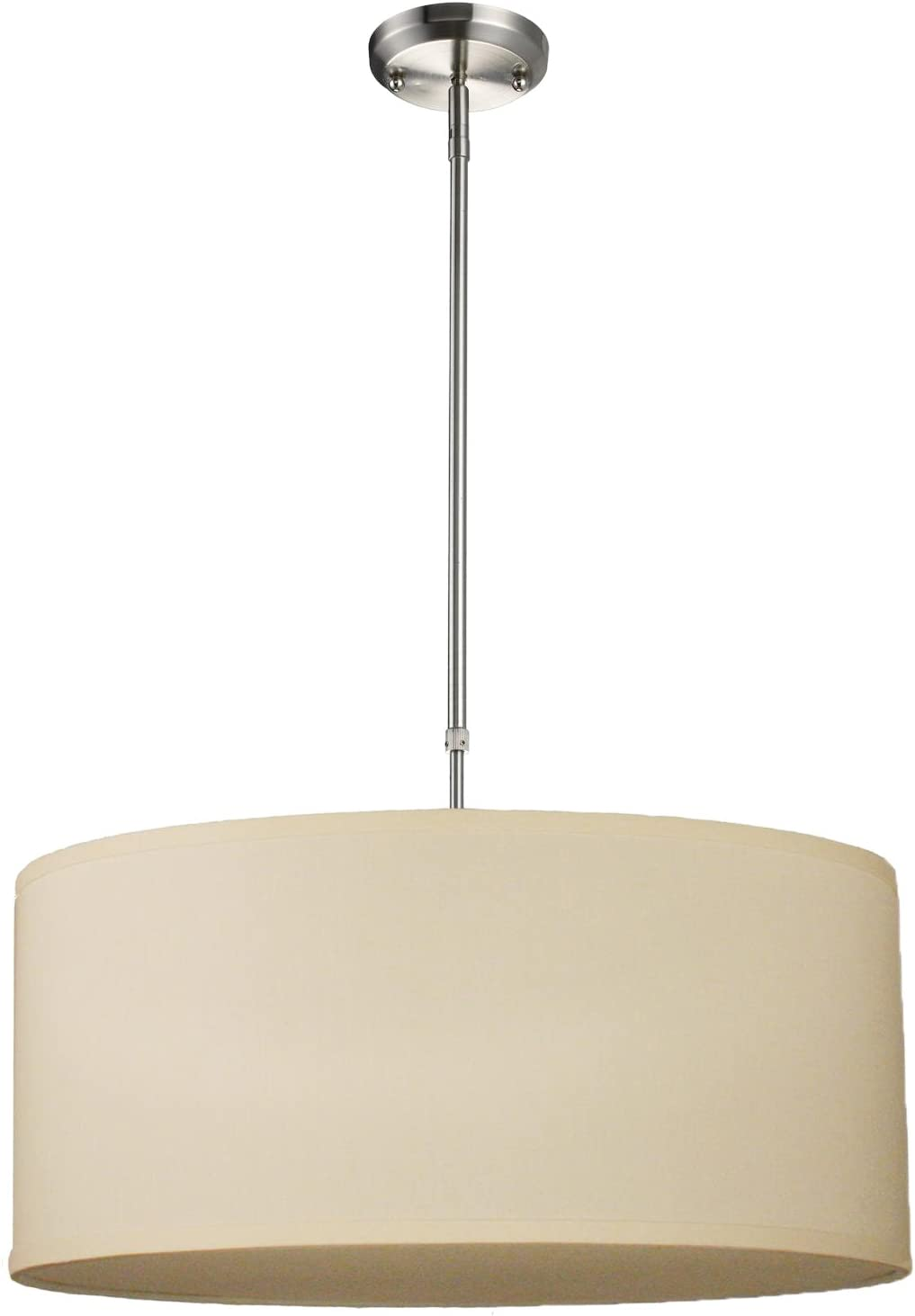Z-Lite 171-24C-C Albion Three Light Pendant, Metal Frame, Brushed Nickel Finish and Off White Linen Fabric Shade of Fabric Material