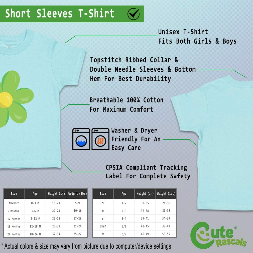 Custom Baby /& Toddler T-Shirt Chamomile Green Cotton Boy Girl Clothes