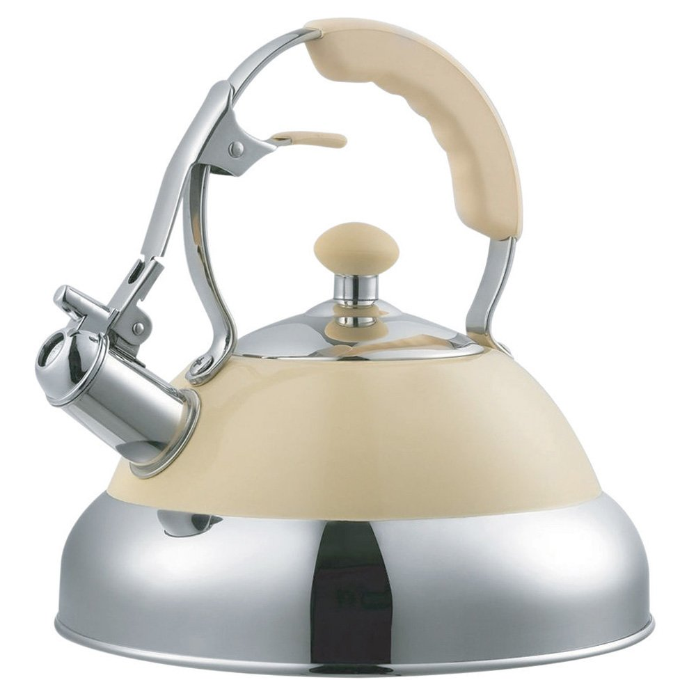 Cream 3.5 Litre Capacity Stainless Steel Whistling Kettle Tooltime