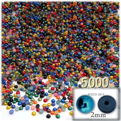 The Crafts Outlet 5000-Piece Pearl Finish Half Dome Round Beads, 2mm, Jewel Tone Mix