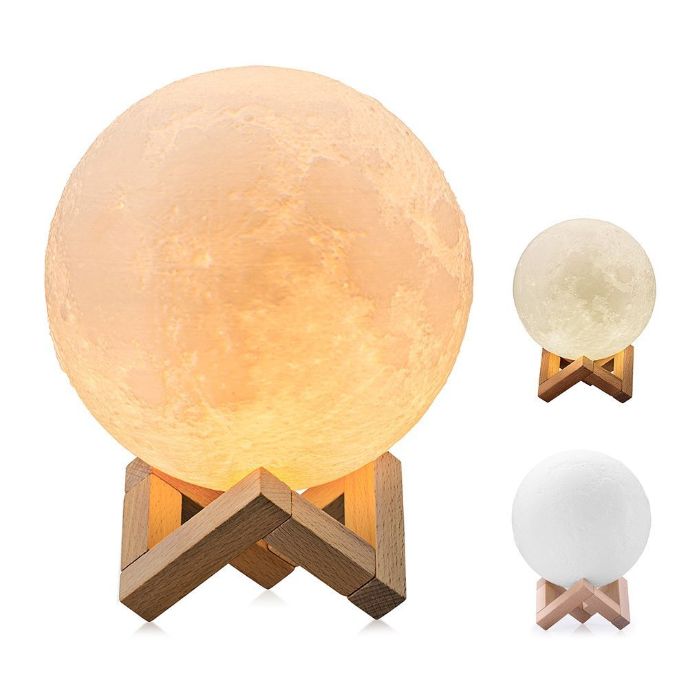 ProGreen Night Light 3D Printed Moon Lamp, Dimmable Touch Control USB Rechargeable LED Lunar Lights Warm and Cool White Home Decoration Lightings with Wood Holder for Kids Women Gift(5.1IN)