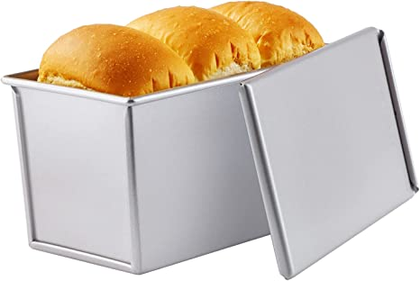 0.99Lb Dough Capacity Non-Stick Rectangle Corrugated Toast Box for Oven Baking 4.2 x 7.7x 4.4 Champagne Gold CHEFMADE Pullman Loaf Pan with Lid