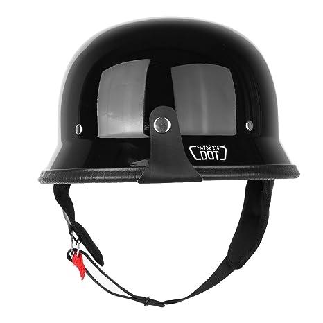 Iglobalbuy DOT German Half Face Helmet Chopper Cruiser Biker Custom Airsoft Paitball Solid Glossy (M