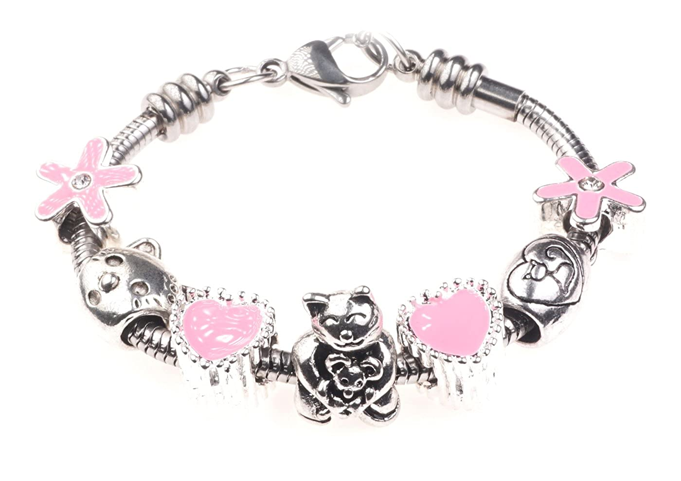 'I Love My Cat' Animal Pet Themed Childrens Charm Bracelet with Gift Box Girls Jewellery Jewellery Hut BRkidsCat