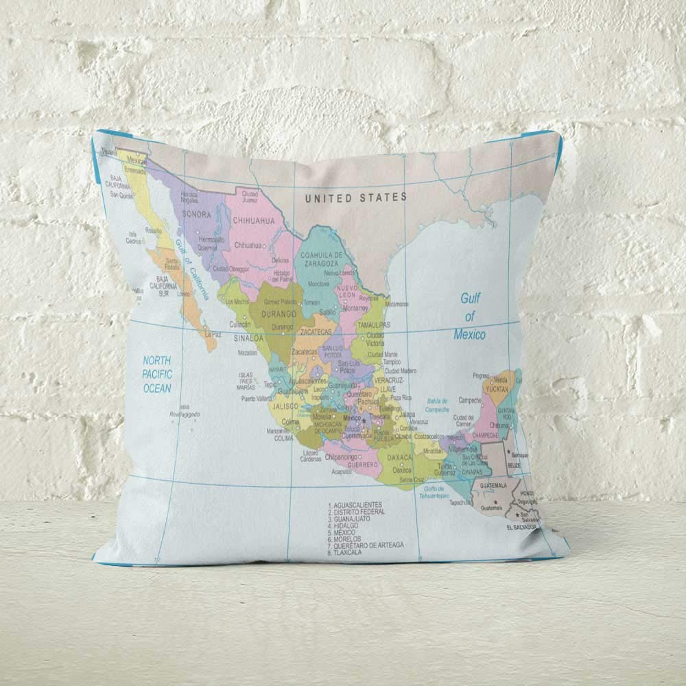 Amazon.com: Nine City Mexico Map Vector Throw Pillow Cushion ...