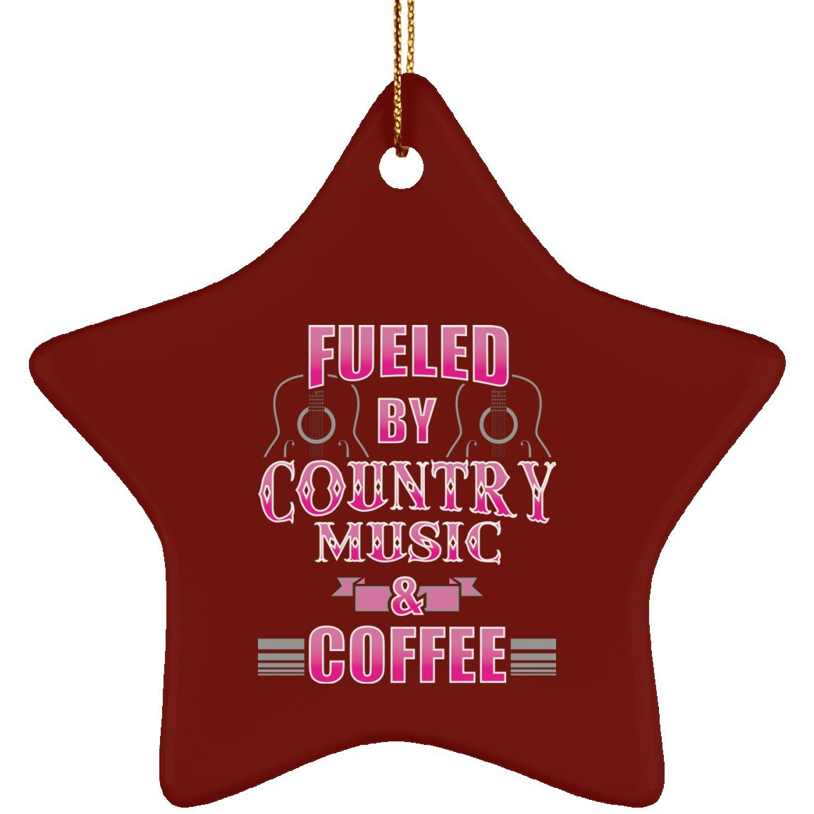 Fueled by Country Music and Coffee | Coffee Lovers Gift | Christmas Ornament