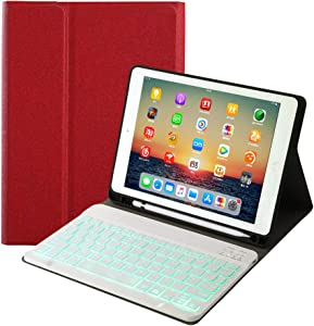 for iPad 8th Generation (2020)/7th Generation(2019) 10.2 inch Keyboard Leather Case,7 Colors Backlit Removable Slim Lightweigh Folio Cover Wireless Bluetooth Keyboard for iPad 10.2
