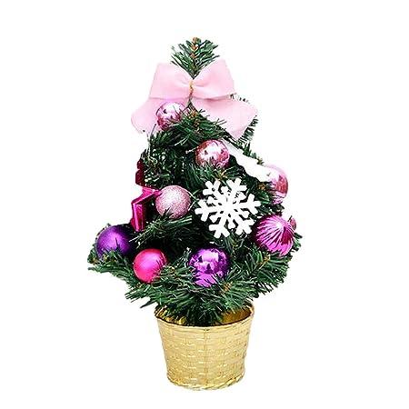 Baskuwish Adornos de Mesa Artificial Mini árbol de Navidad Lazo ...