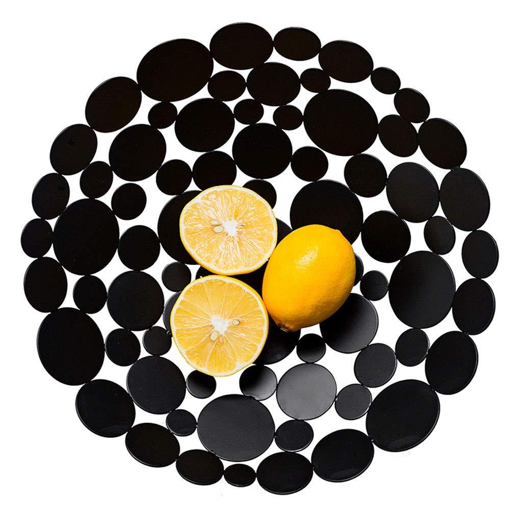 クリエイティブ中空メタルフルーツトレイフルーツバスケットプレートフルーツディッシュフルーツラックキッチンリビングルームの装飾 (色 : 黒)  黒 B07NQ22CWS