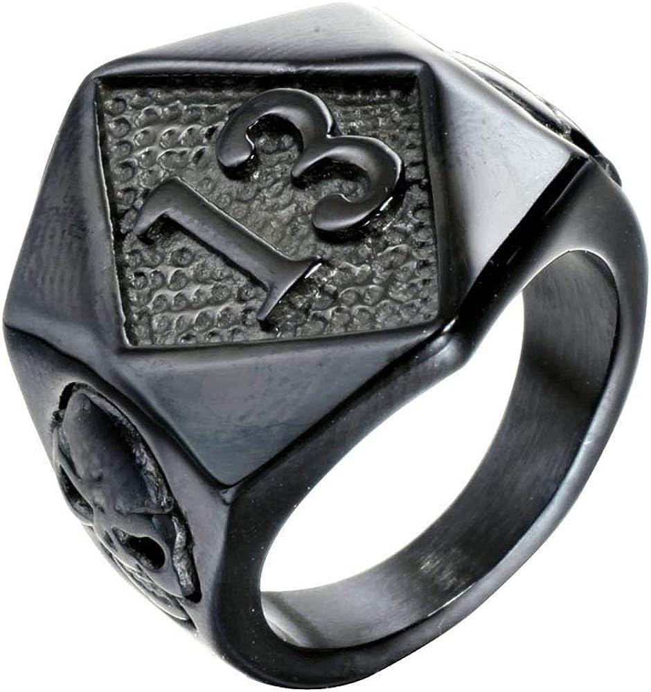 PAURO Men's Stainless Steel No. 13 Evil Skull Motorcycle Biker Ring Silver/Gold/Black