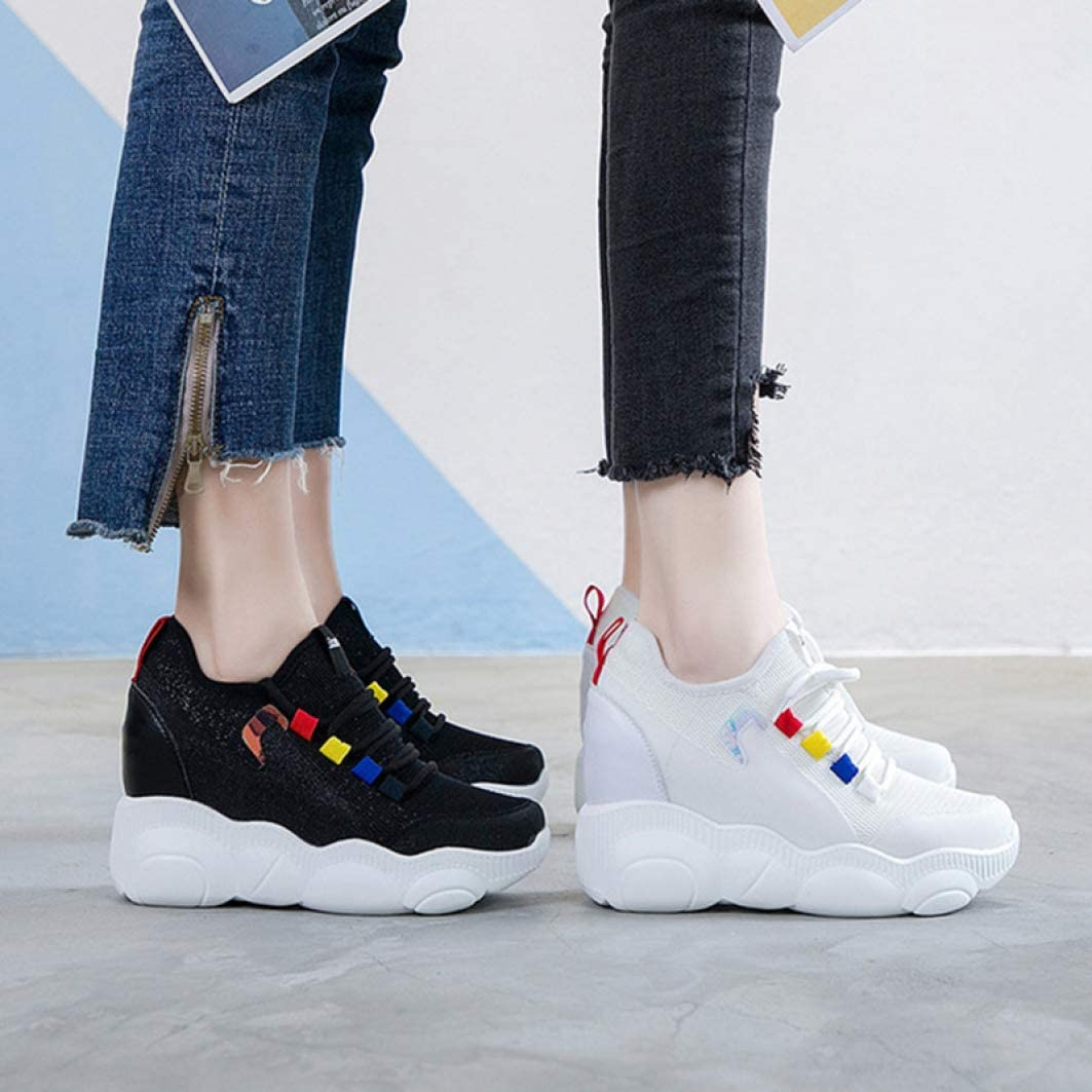 Mageed Anna Height Increasing Hidden Heel White//Black Platform Sneakers for Woman Female Casual Shoes Platform Loafers