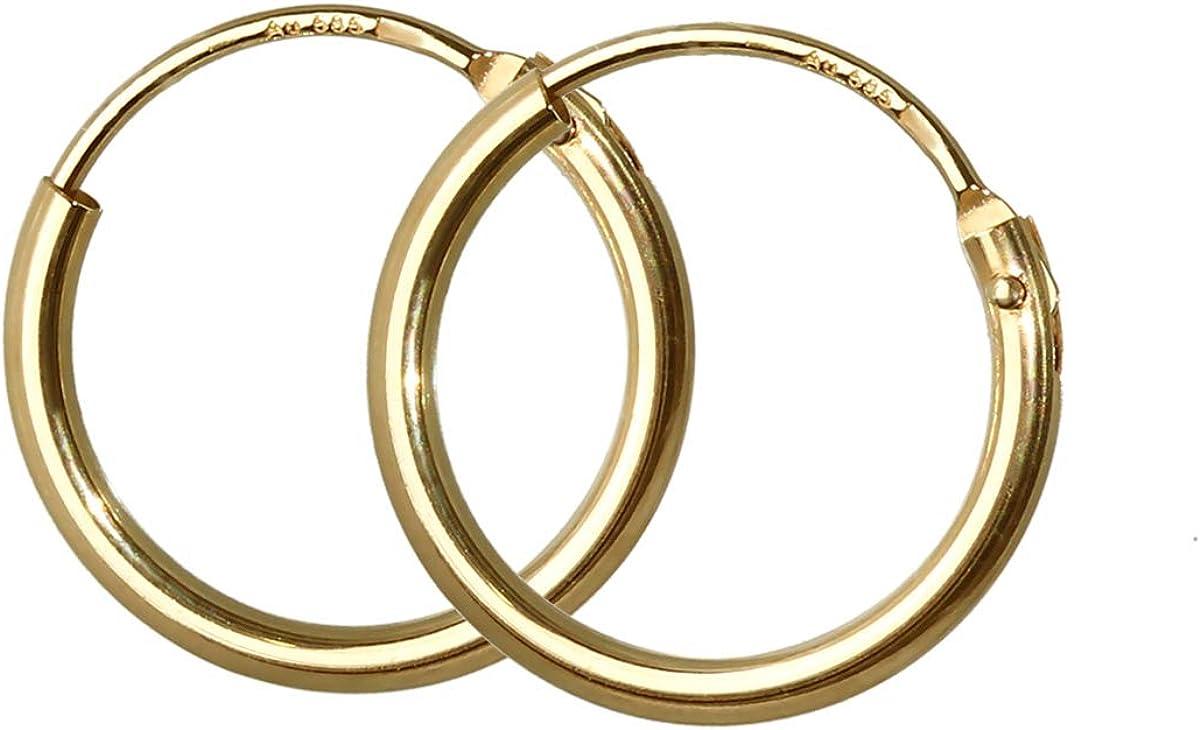 NKlaus Einzel 333er 8 Karat Gold wei/ßgold Klappcreole Ohrring 12,2 x 3,2mm Hochglanzpoliert Rund 4750