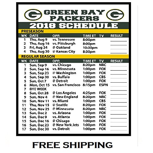 2018 Green Bay Packers NFL Football Schedule and Scores Refrigerator Magnet #511