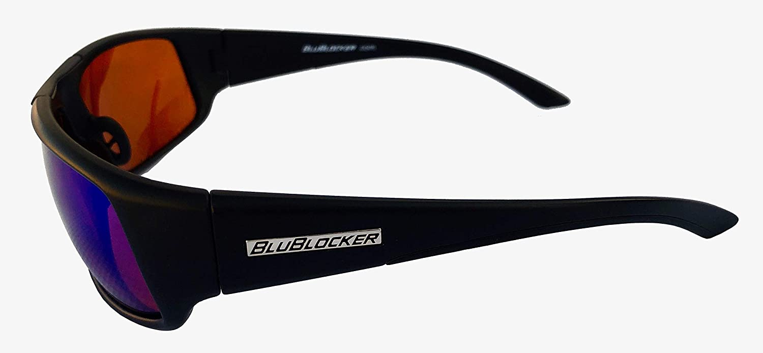 d8489472be Amazon.com  BluBlocker Black Nylon Sport Polarized with Blue Mirror Lens -  4204K  Clothing