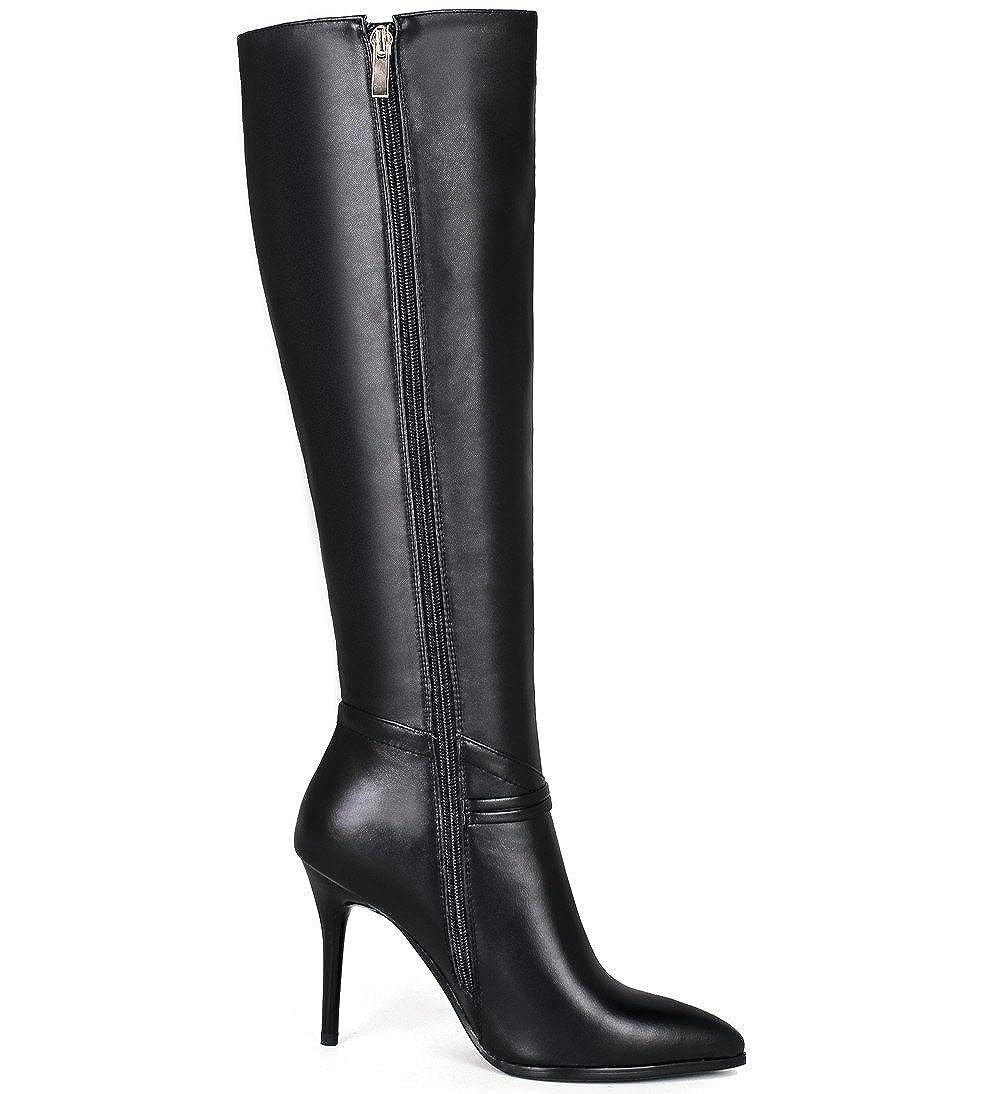 5023bd208c4 Nine Seven Cuero Moda Puntiagudos Botas Largas de Tacón de Aguja con  Cremallera de Invierno para Mujer (38.5, negro): Amazon.es: Zapatos y  complementos