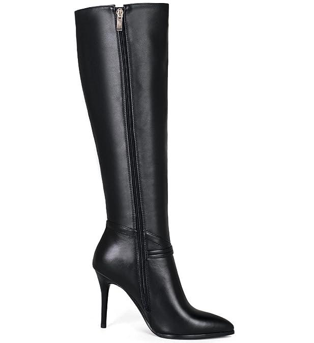 48ffedc2 Nine Seven Cuero Moda Puntiagudos Botas Largas de Tacón de Aguja con  Cremallera de Invierno para Mujer (38.5, negro): Amazon.es: Zapatos y  complementos