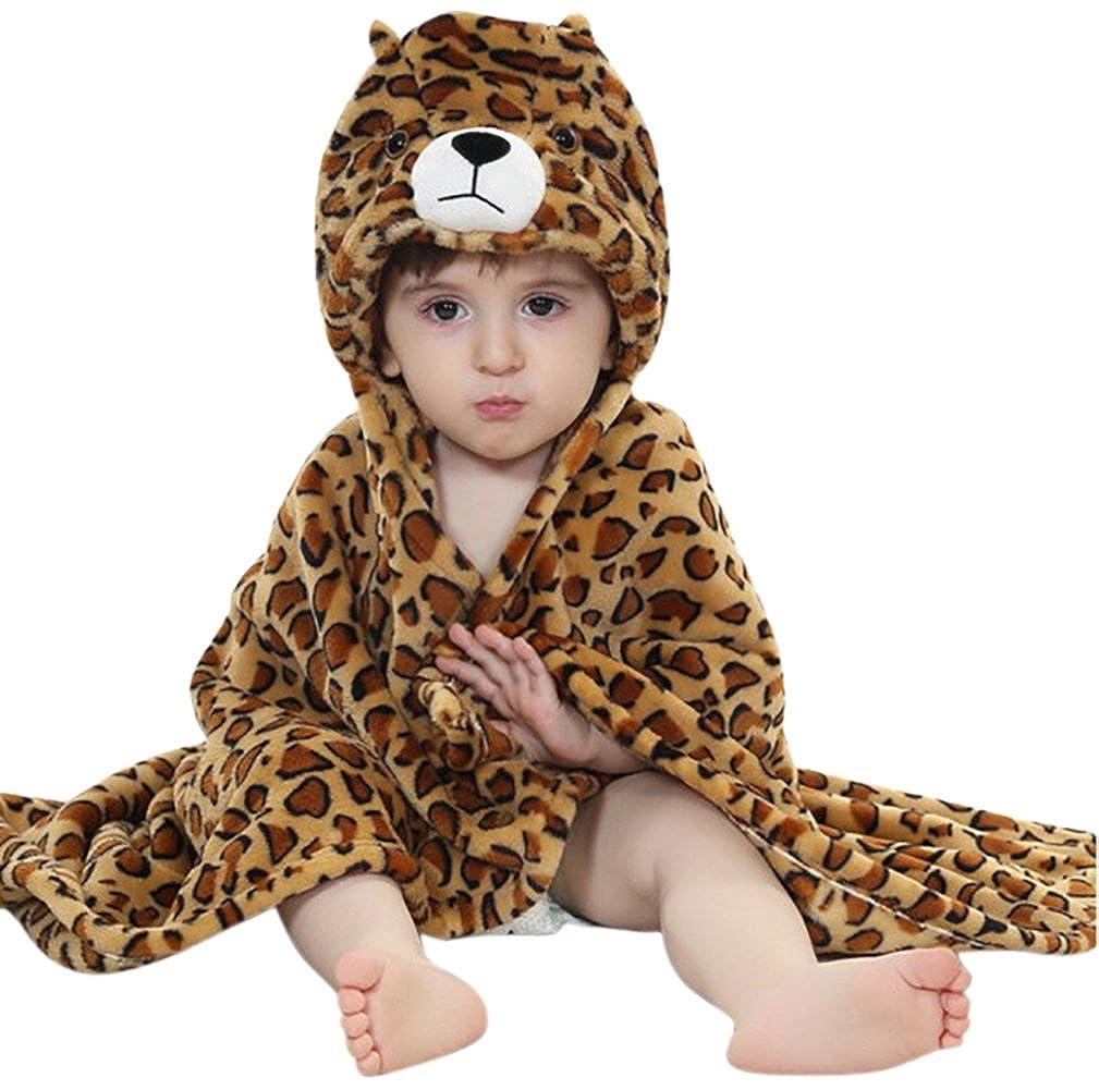 LLQ Baby Badetuch mit Kapuze, Mädchen Jungen Bademäntel Kapuze Badetuch Flanell Umhang mit Bademänteln