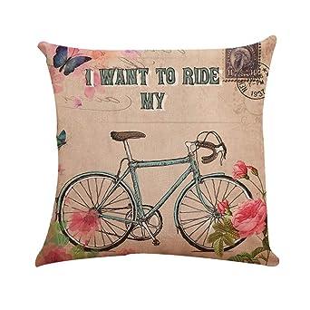 Fossrn Fundas cojines 45x45 Moderno Flores Bicicleta Fundas ...