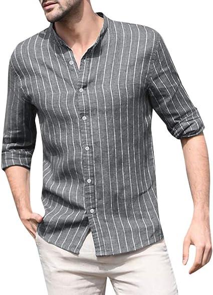 Striped Men Linen Short Sleeve Shirt Casual Loose V Neck Retro Button Tee Top US