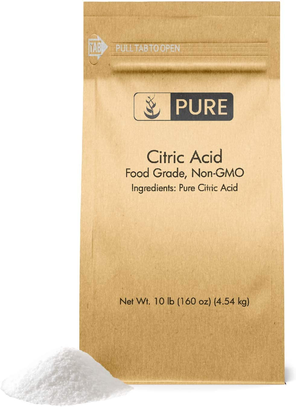Citric Acid (10 lb.) by Pure, Eco-Friendly Packaging, All-Natural, Highest Quality, Pure, Food Safe, Non-GMO