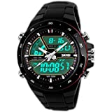 SunJas Orologi da Polso Sportivi 5ATM Impermeabile Uomo LCD Digital Cronometro Cronografo Data dell'Allarme Casual Wrist Watch 2 Time Zone