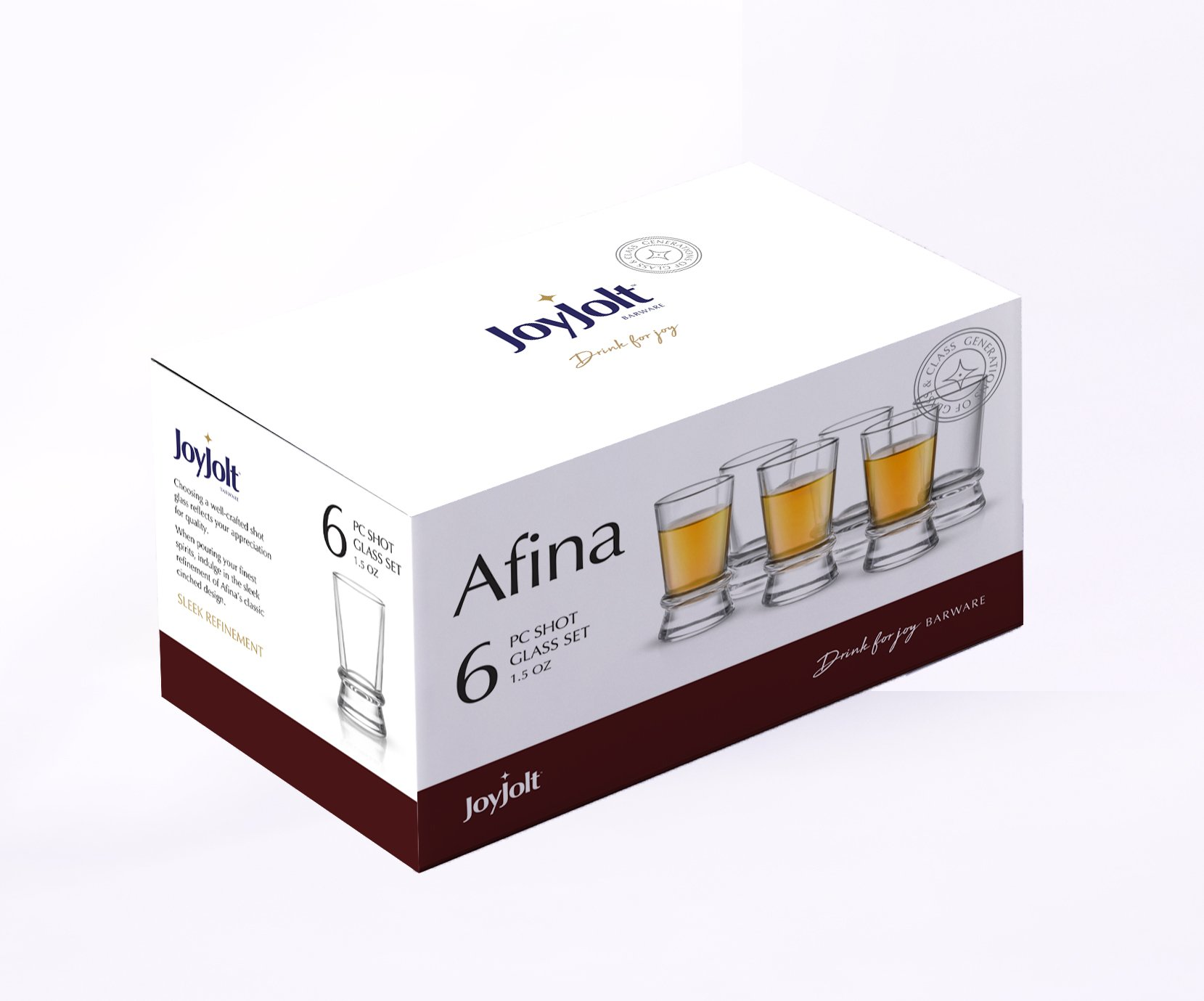 JoyJolt Afina Heavy Base Shot Glasses (Pack of 6) – 1.5-Ounces