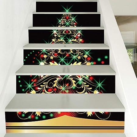 wei Stickers Decorativos 3D Escaleras, Regalos árbol De Navidad Infantil Etiquetas Engomadas De La Pared del Pasillo De Escaleras: Amazon.es: Hogar