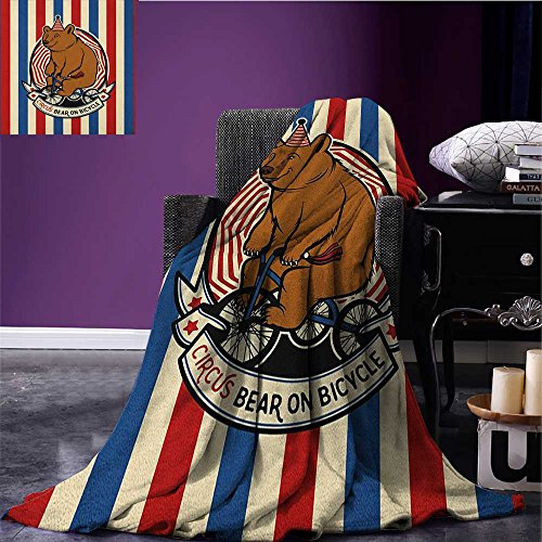 Bear throw blanket Circus Bear on Bicycle Carnival Theme Cute Mascot with Hat on Striped Backdrop miracle blanket Ruby Blue Brown size:59