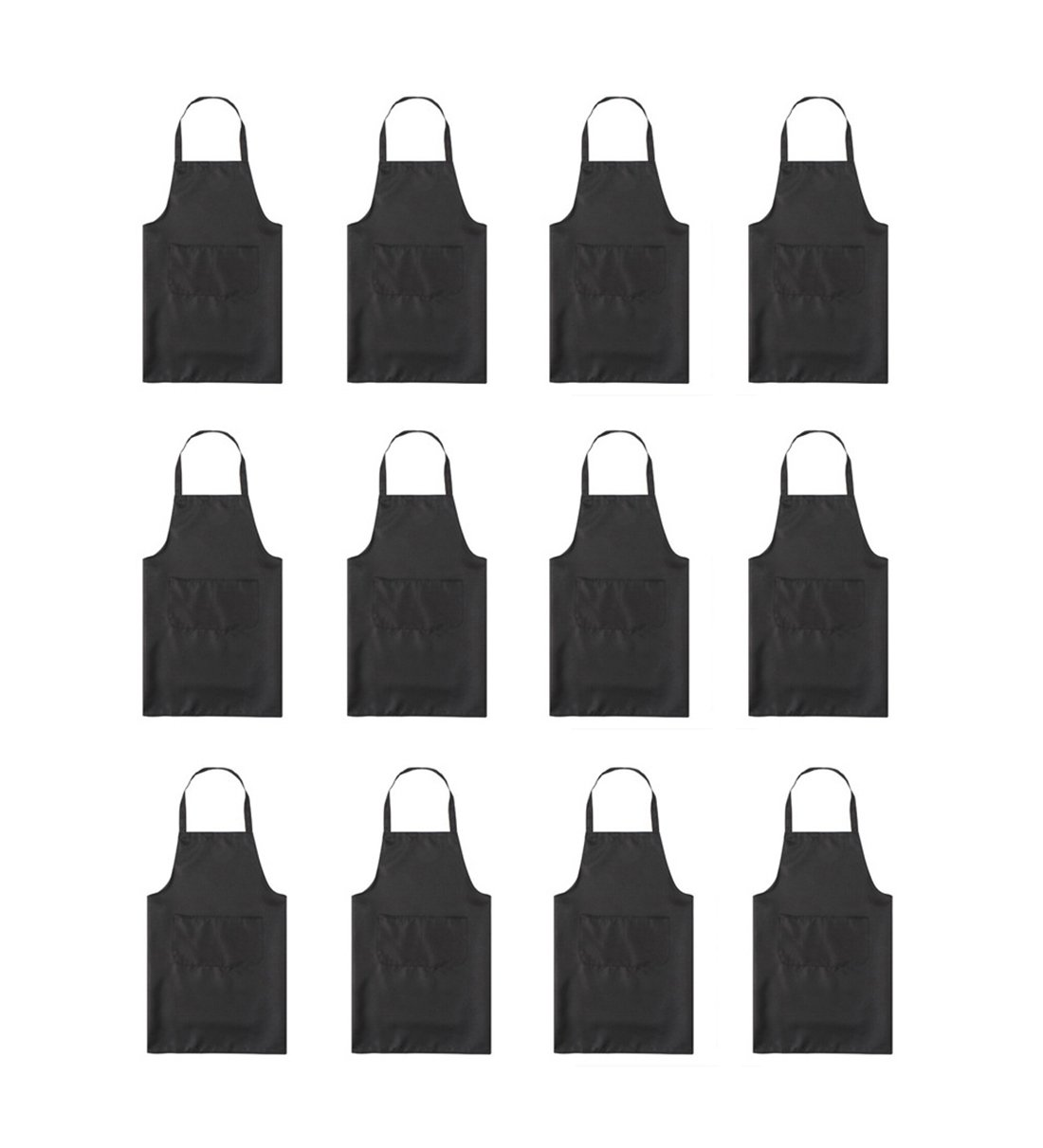 TSD STORY Total 12 PCS Plain Color Bib Apron Adult with 2 Front Pocket (Black) by TSD STORY (Image #1)
