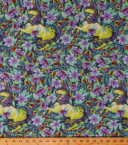 Cotton Tula Pink Pinkerville Unicorns Flowers Fantasy Fairytale Magical Animals Florals Whimsical Enchanted Imaginarium Daydream Cotton Fabric Print by The Yard (D307.38)