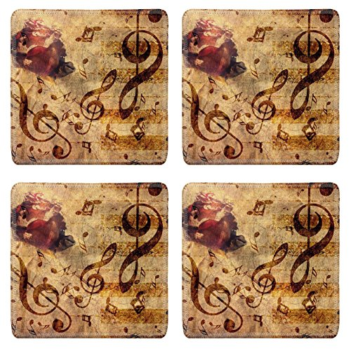 Liili Square Coasters Abstract grunge rose piano and music notes vintage background Photo 15382537 (Vintage Piano Stool compare prices)
