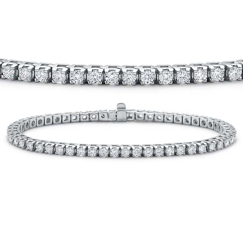 IGI CERTIFIED 5 Carat (ctw) 14K White Gold Round Cut White Diamond Ladies Tennis Bracelet