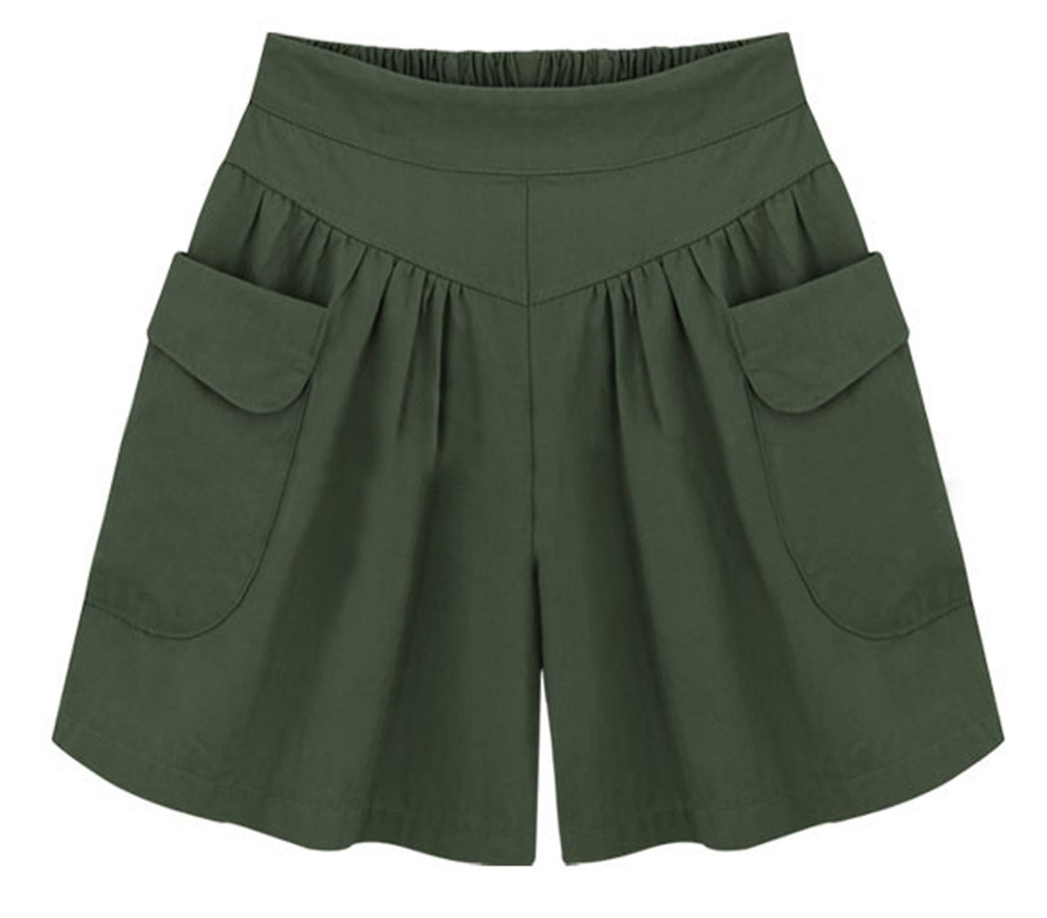 HOW'ON Women's Summer Casual Comfy Culottes Shorts Elastic Waist Wide Leg Shorts Army Green M