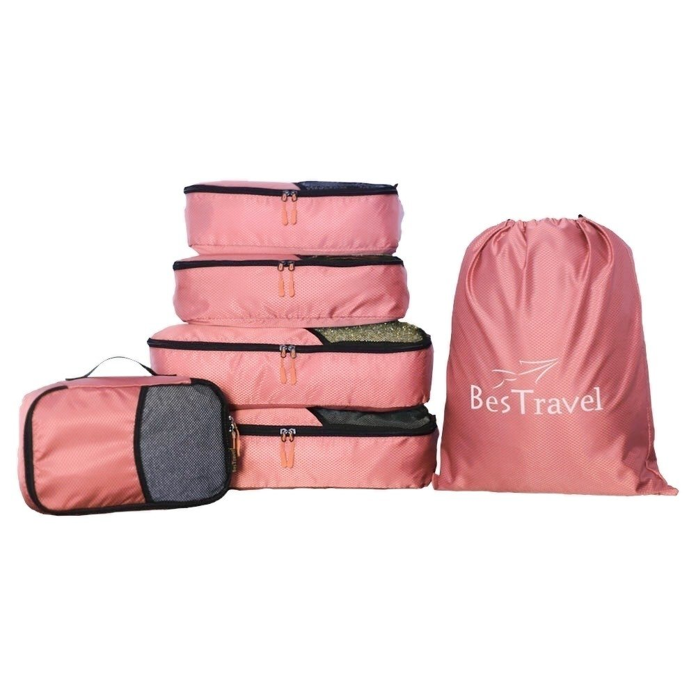 BesTravel - 5 Set Packing Cubes - Travel Organizers with Laundry Bag (pink)