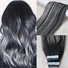 "HairDancing 14"" Ombre Balayage Color Natural Black to Silver Grey to #1B Ombre Tape In Hair Extensions PU Skin Hair Weft Seamless Remy Human Hair Extensions 20pcs 50g"