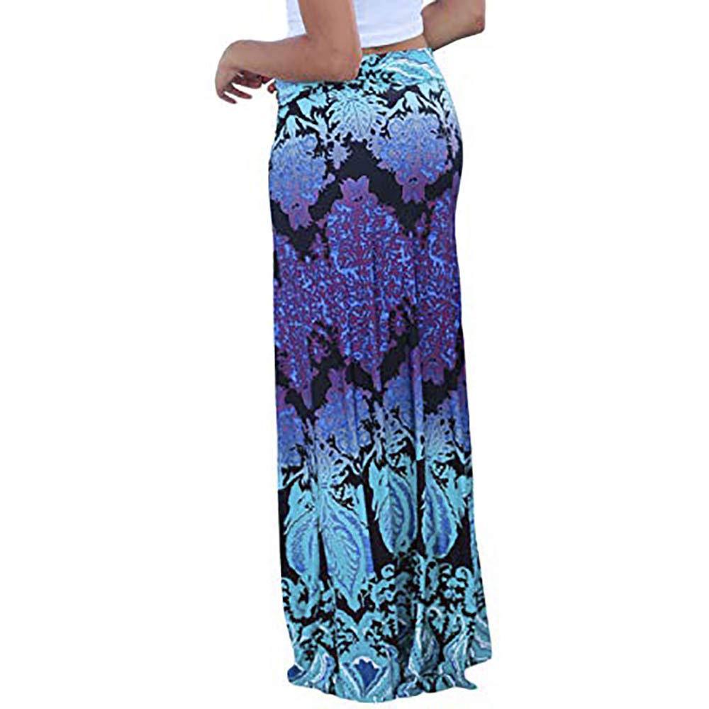 Womens Ladies Vintage Coral Print High Waist Skater Skirt Long Maxi Skirt Autumn Skirt Fall Skirt For Women