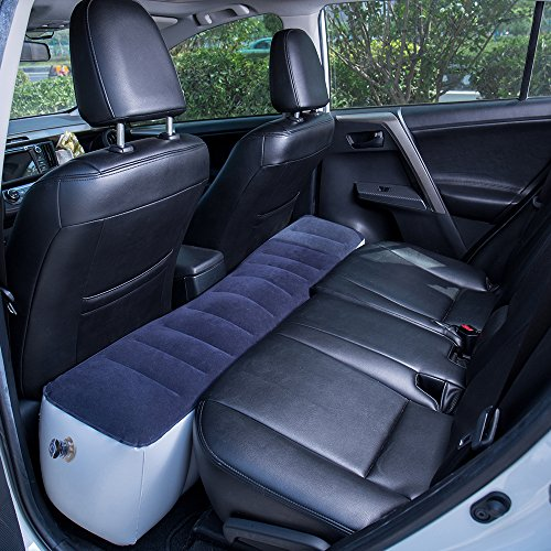 FMS Extra Grueso Coche Inflable SUV colchon Cama Doble Flocado Colchon Coche para Prolongar el Asiento Trasero Viajes al Aire Libre y Camping (Espacio Entre colchones)