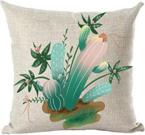 ramirar Hand Painted Ink Painting Watercolor Green Cactus Leaves Oasis Decorative Throw Pillow Cover Case Cushion Home Living Room Bed Sofa Car Cotton Linen Square 18 x 18 Inches
