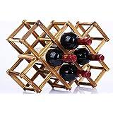 【morningplace】 サイズが選べる 折りたたみ式 ワインラック 木製 ホルダー ワイン シャンパン ボトル スタンド 収納 ケース インテリア に (10本収納 ベーキングカラー)