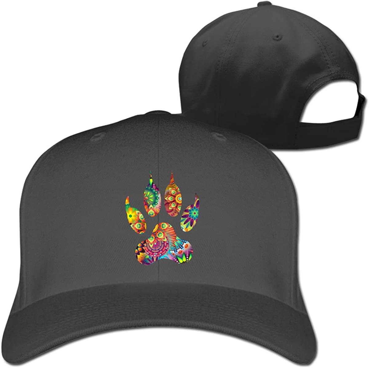 Psychedelic Paw Print Fashion Adjustable Cotton Baseball Caps Trucker Driver Hat Outdoor Cap Black