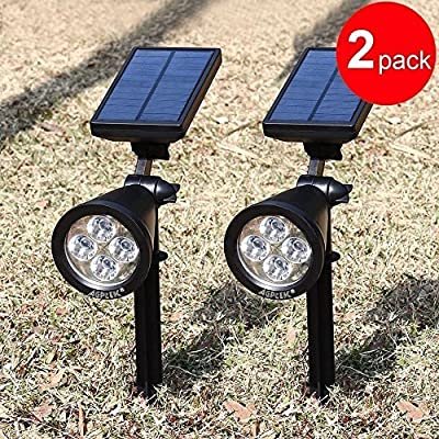 Solar Spotlights,AGPTEK 4-LED Solar Landscape Lights 180 ° Adjustable Waterproof Outdoor Security Lighting Wall Lights Auto On/Off for Yard Garden Driveway Patio Lawn Pool