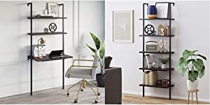 Nathan James Theo 2-Shelf Industrial Wall Mount Ladder Table, Small Computer or Writing Desk, Nutmeg/Matte Black & Theo 5-Shelf Wood Ladder Bookcase with Metal Frame, Walnut Brown/Black