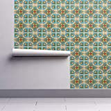 Tiles Wallpaper Sample Swatch - Azulejos Ceramics Mexico Mexican California Spanish by Bymemi - Swatch 12in x 24in