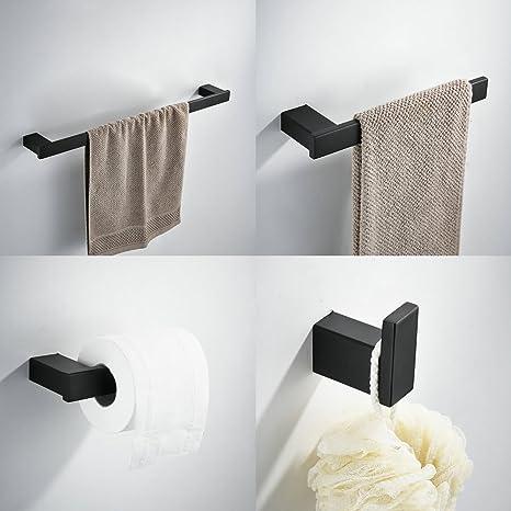 Kelelife Juego de Accesorios de baño Set, Incluyendo 24 Pulgadas toallero de Barra, toallero, Gancho, Tejido portarrollos, Negro Pintura