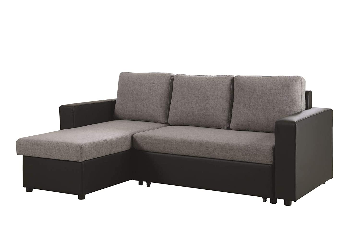 Coaster Home Furnishings 503929 Everly Reversible Sleeper Sectional Sofa Grey and Black