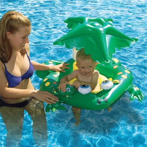 Poolmaster 81555 Learn-to-Swim Swimming Pool Float Baby Rider with Sun Protection Frog,Green