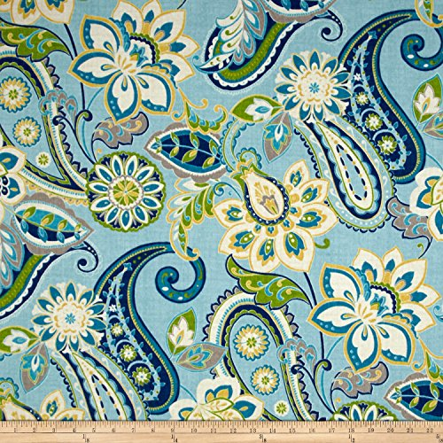Waverly Sun N Shade Wild Card Turquoise Outdoor, Fabric by the Yard