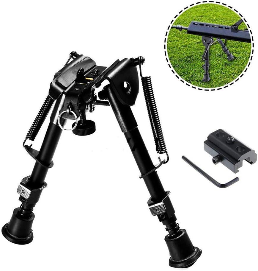 Yissma Bípode Giratorio inclinable 1 bípode de 6 a 9 Pulgadas 1 x Adaptador de Montaje para Cazar Disparar Pistola Pistola Rifle
