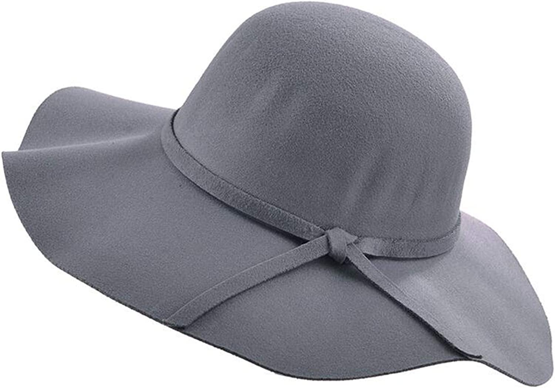 Simple Vintage Retro Kids Child Girl Hats Fedora Wool Felt Crushable Wide Brim Beach Cap