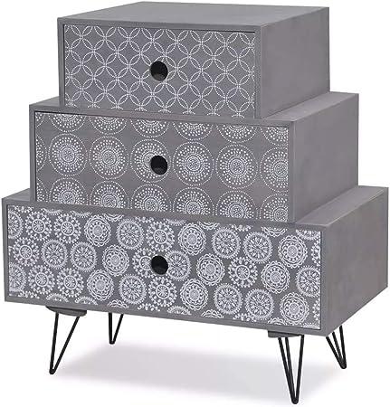 vidaXL Table de Chevet /à 3 tiroirs MDF Gris Table de Nuit Support de t/él/éphone